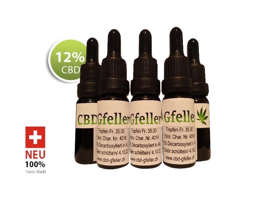 5Flaschen CBD Gfeller Hanftropfen 12%